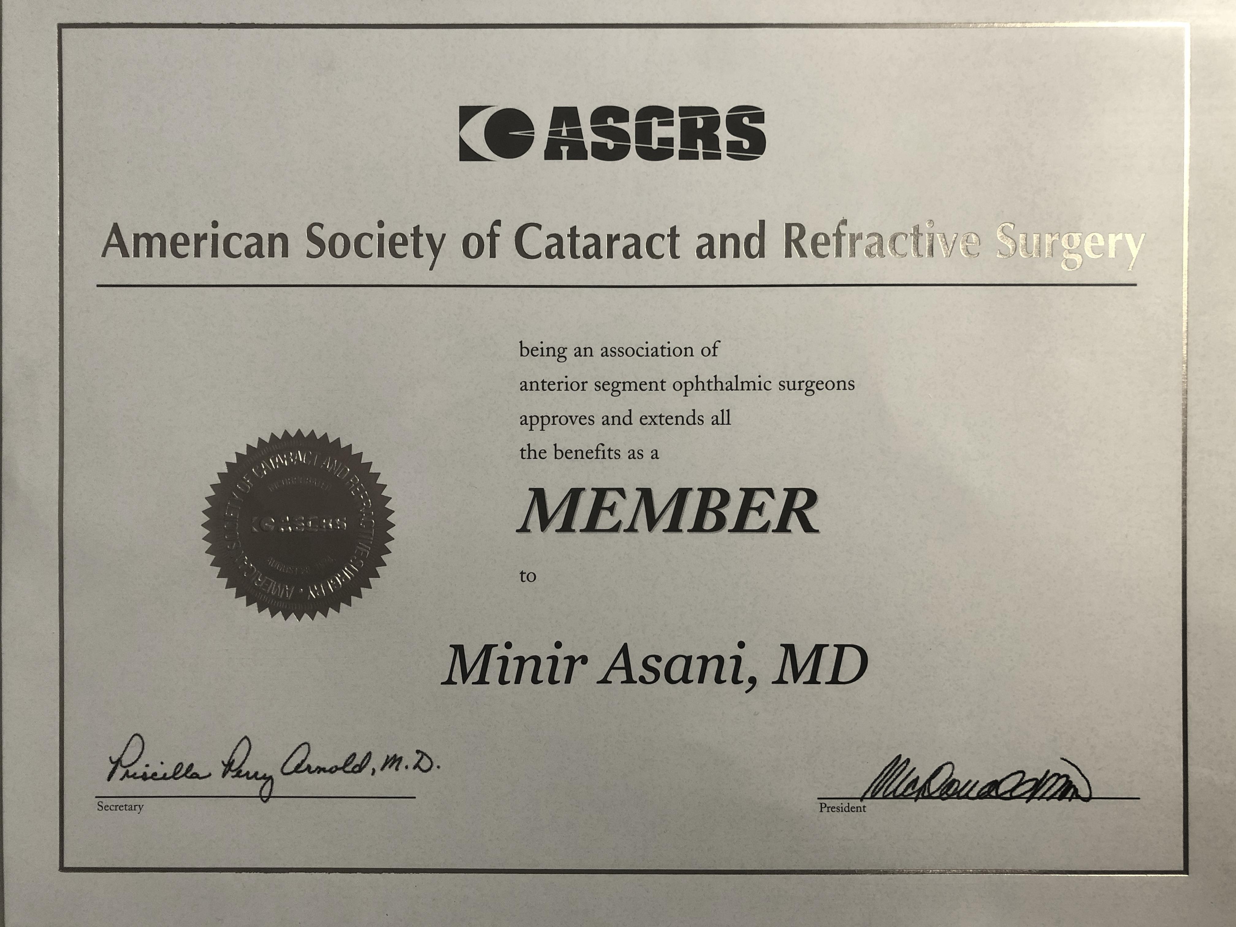 ASCRS-Zertifikat