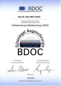 Dr. Asani - BDOC Zertifikat