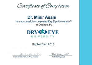 Dr. Asani - Dry-Eye University Zertifikat